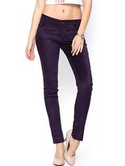 Xpose Women Purple Corduroy Slim Fit Trousers