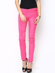 Xpose Women Pink Corduroy Slim Fit Trousers