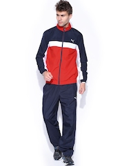 PUMA Men Red & Navy ESS Tracksuit