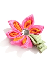 NeedyBee Girls Pink & Orange Alligator Hair Clip