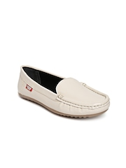 Carlton London Women Cream-Coloured Leather Loafers