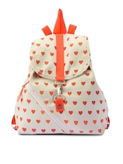 Be For Bag Women Beige & Orange Printed Backpack