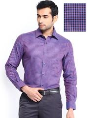 Peter England Men Purple & Blue Checked Slim Fit Formal Shirt