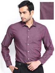 Peter England Men Burgundy Slim Fit Formal Shirt