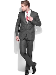 Four One Oh Men Grey Tailored Fit Single-Breasted Formal Suit
