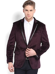 Four One Oh Men Burgundy Tailored Fit Single-Breasted Blazer