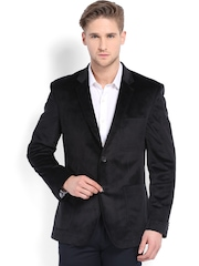 Four One Oh Men Black Tailored Fit Single-Breasted Blazer