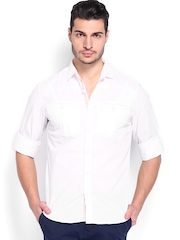 Locomotive Men White Checked Slim Fit Casual Shirt