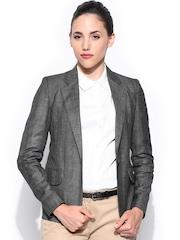 Mast & Harbour Women Grey Checked Formal Blazer