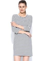 Vero Moda White & Navy Striped Shift Dress