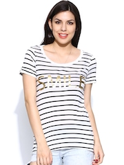 Vero Moda Women White & Black Striped T-shirt