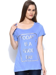 Vero Moda Women Blue Printed T-shirt