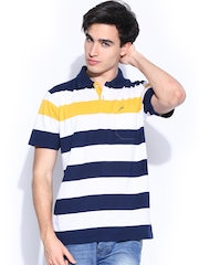 Proline Men Navy & White Striped Polo T-shirt