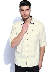 U.S. Polo Assn. Men Off-White Printed Casual Shirt