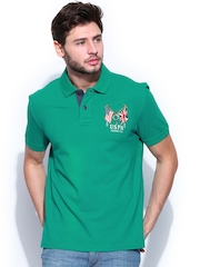 U.S. Polo Assn. Men Green Pique Polo T-shirt