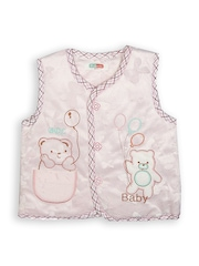 Camey Kids Light Pink Embroidered Sleeveless Jacket