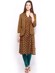 Vishudh Women Multicoloured Checked Kurta with Jacket