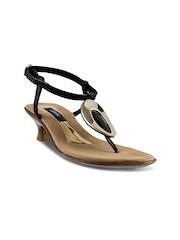 Mochi Women Black & Gold-Toned Heels