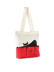 Vogue Tree Women White & Red Printed Tote Bag