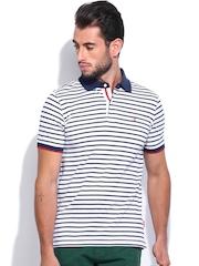 IZOD Men White & Navy Striped Polo T-shirt