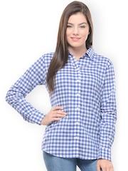 Hapuka Women Blue & White Gingham Checked Casual Shirt