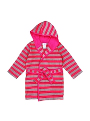 Snuggles Unisex Pink & Grey Melange Striped Bathrobe