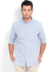 French Connection Men White & Blue Checked Slim Fit Casual Shirt