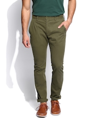 French Connection Men Olive Green Trousers