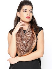 Get Wrapped Women Brown Animal Printed Silk Scarf