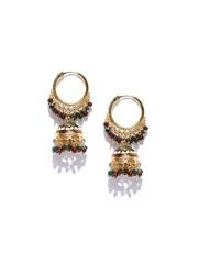 Sia Art Jewellery Gold-Toned & Maroon Jhumka Earrings