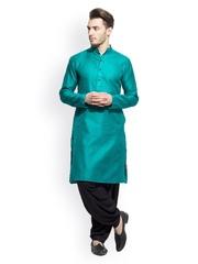Abhinav Mishra Men Green Embroidered Kurta