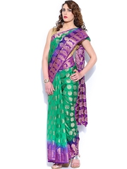 Anouk Green Zari Boota Art Silk Traditional Saree
