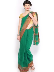 Anouk Green Cotton Traditional Saree