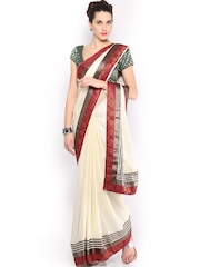 Anouk Cream-Coloured Jacquard Crepe Fashion Saree