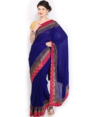 Anouk Blue Jacquard Crepe Fashion Saree