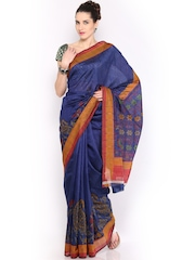 Anouk Navy Printed Bhagalpuri Art Silk Fashion Saree