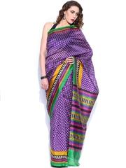 Anouk Purple & Beige Art Silk Printed Saree