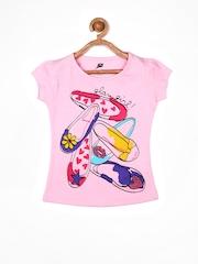 Yellow Kite Girls Pink Printed T-shirt