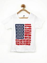 Yellow Kite Girls White Printed T-shirt