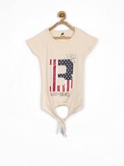 Yellow Kite Girls Peach-Coloured Printed T-shirt