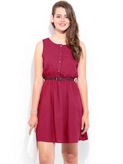 DressBerry Dark Pink Flare Berry Dress