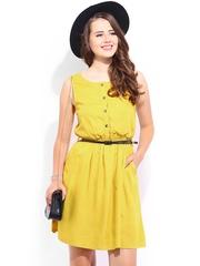 DressBerry Mustard Yellow Flare Berry Dress