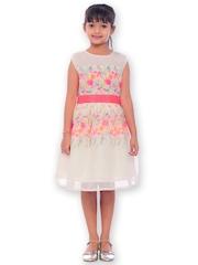 Joshua Tree Dress Up Girls White & Pink Printed Fit & Flare Dress