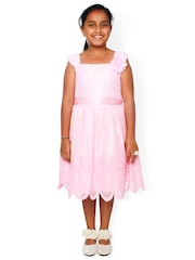 Joshua Tree Dress Up Girls Pink Embroidered Fit & Flare Dress