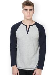 Unisopent Designs Men Grey & Navy Henley T-shirt