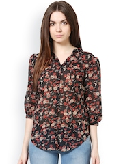 Trend 18 Women Black Printed Top