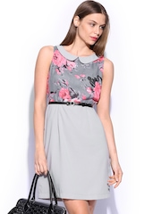 Mast & Harbour Women Grey Printed Ella Shift Dress