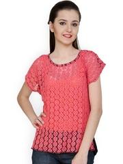 StyleToss Women Pink Lace Top