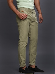 WROGN Men Beige Slim Fit Super-Soft Washed Chinos