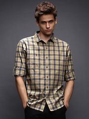 WROGN Men Khaki & Navy Checked Slim Fit Casual Shirt